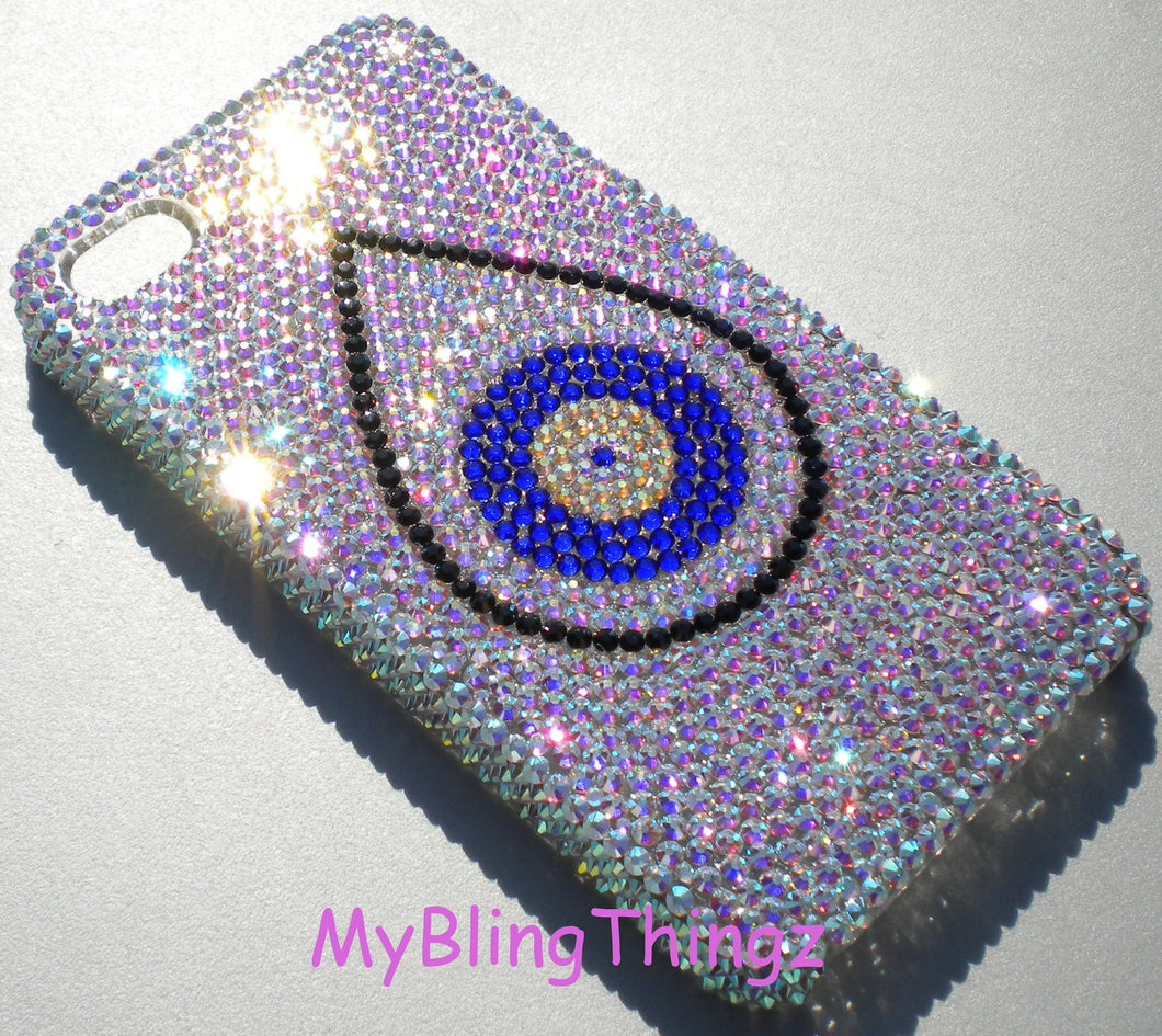 Tiny 9ss - Custom Evil Eye Design Crystal Diamond Rhinestone BLING Back Case for Apple iPhone 5 5S made using 100% Swarovski Elements