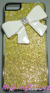 For iPhone SE or 5S / 5 - BIG White Crystal Bling Cute Bow on Gold Glitter Sparkle Case Cover Shell