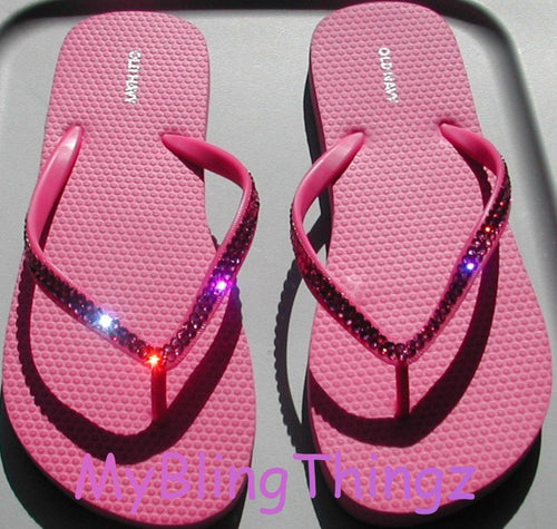 Simple, Elegant, Classy : Crystal Diamond Rhinestone Bling Pink Flip Flops handmade using Swarovski Crystals - Thongs Sandals