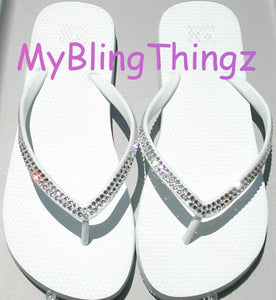 Women's Size 7 - Simple Elegant Classy : Crystal Diamond Rhinestone Bling White Flip Flops handmade using Swarovski Crystals Thongs Sandals