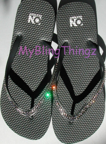 Simple, Elegant, Classy : Crystal Diamond Rhinestone Bling Black Flip Flops handmade using Swarovski Crystals Thongs Sandals
