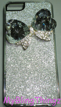 For iPhone SE or 5S / 5 - Deluxe Crystal Bling Cute Bow on Silver Glitter Sparkle Case Cover Shell