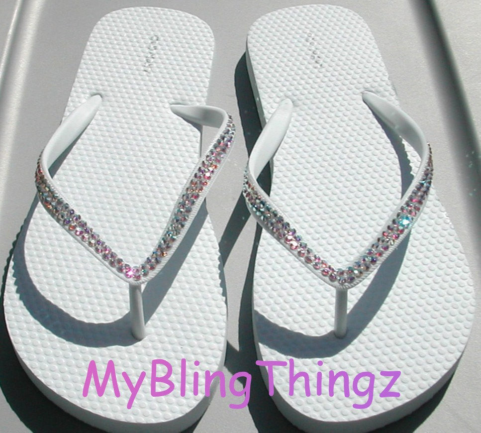 WEDDING Iridescent Crystal AB Diamond Rhinestone Bling White Flip Flops handmade using Swarovski Crystals Thongs Sandals
