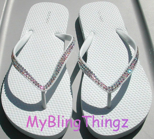 Simple, Elegant, Classy : Iridescent Crystal AB Diamond Rhinestone Bling White Flip Flops handmade using Swarovski Crystals Thongs Sandals