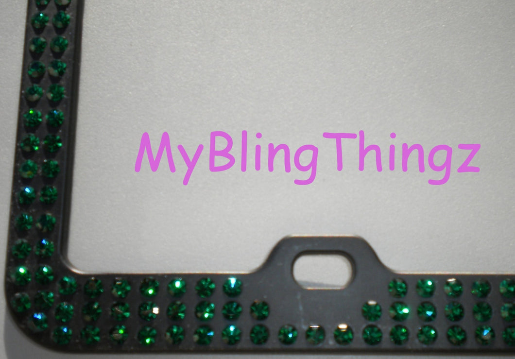 3 Rows Rich Emerald Green Crystal BLING Inset / Embedded Rhinestone on Black License Plate Frame handmade using 100% Swarovski Elements
