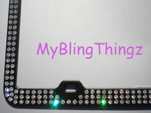 3 Rows Crystal Clear BLING Inset / Embedded Rhinestone on Black License Plate Frame handmade using 100% Swarovski Elements