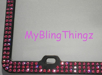 3 Rows Rose Pink Crystal BLING Inset / Embedded Rhinestone on Black License Plate Frame handmade using 100% Swarovski Elements