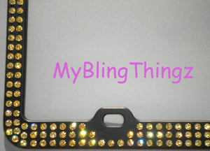 3 Rows Jonquil Yellow Crystal BLING Inset / Embedded Rhinestone on Black License Plate Frame handmade using 100% Swarovski Elements