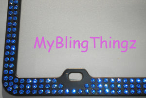 3 Rows Sapphire Blue Crystal BLING Inset / Embedded Rhinestone on Black License Plate Frame handmade using 100% Swarovski Elements