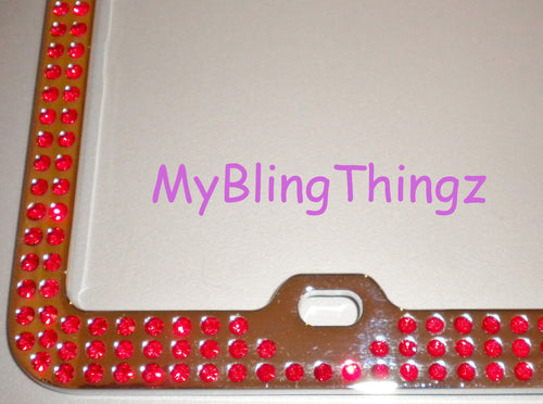 3 Rows Bright Red Light Siam Crystal BLING Inset / Embedded Rhinestone License Plate Frame handmade using 100% Swarovski Elements