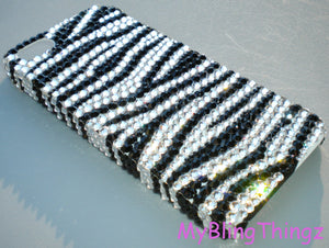 For iPhone 5 - Black & White Zebra Stripe Design Crystal Diamond Rhinestone BLING Back Case Handmade with 100% Swarovski Elements