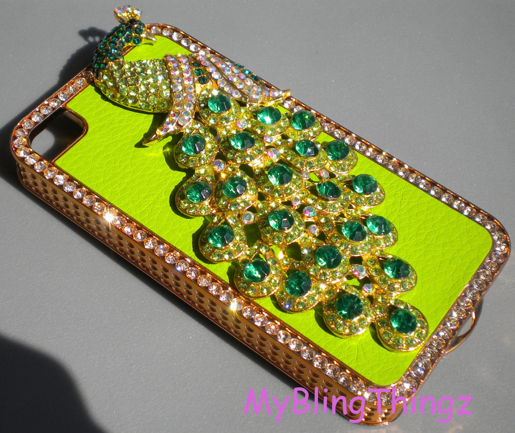 For Apple iPhone 4 4S - Exquisite Crystal Diamond Rhinestone Emerald BLING 3D Peacock on Green Leather and Gold Back Case Cover