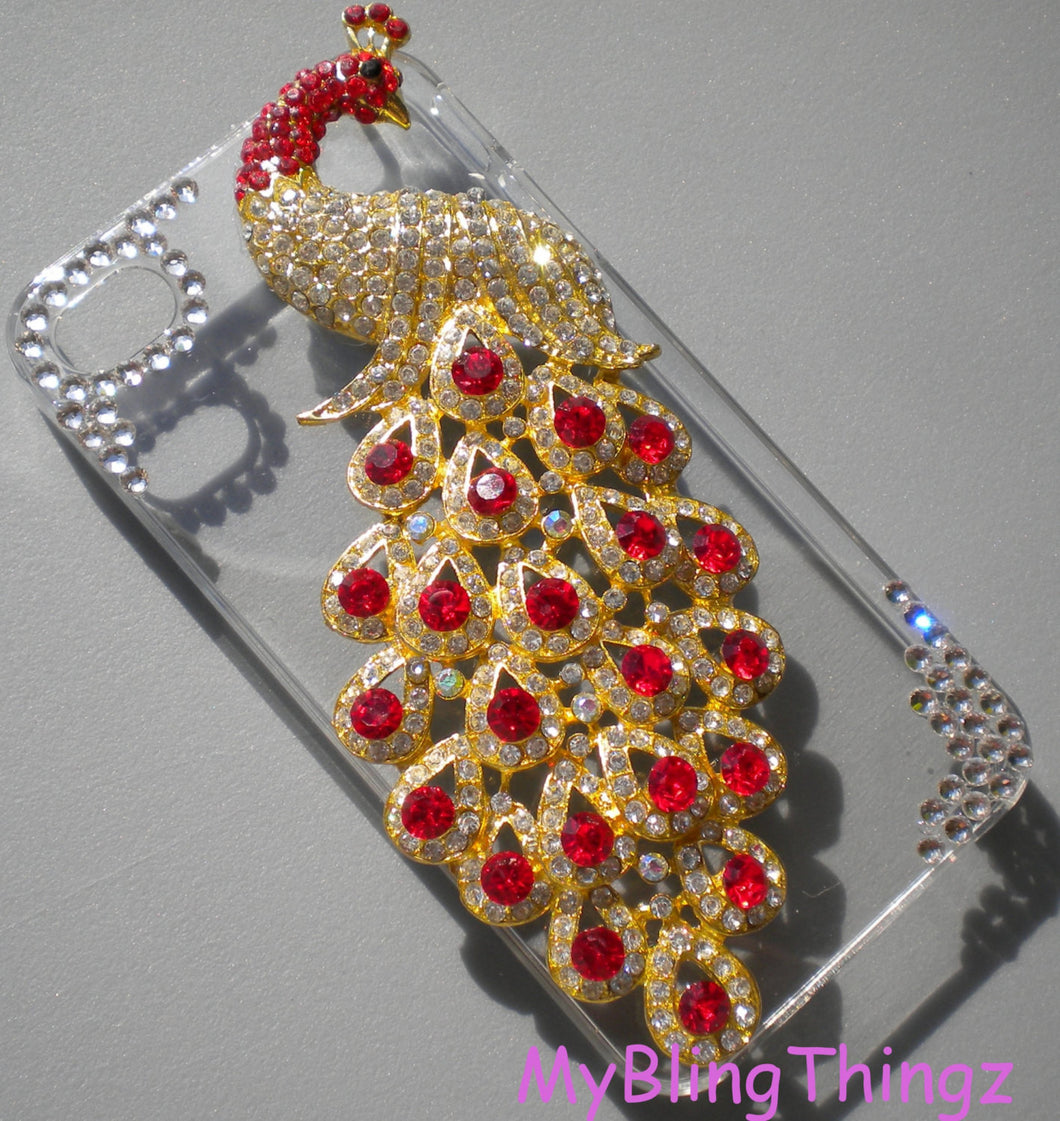For iPhone 4 4S - Crystal Rhinestone Diamond Bling 3D Peacock on Clear Sparkle Case Cover Shell -  Bright Red Light Siam