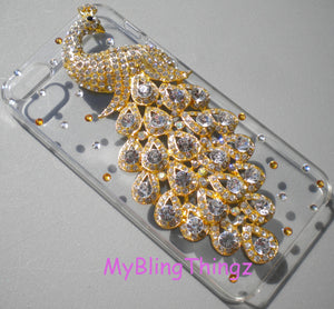 For iPhone SE 5 5S - Crystal Rhinestone Diamond Bling 3D Peacock on Clear Sparkle Case Cover Shell