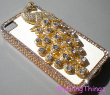 For Apple iPhone 4 4S - Exquisite Crystal Diamond Rhinestone BLING 3D Peacock on White Leather and Gold Back Case Cover