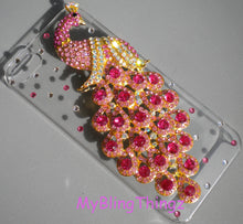 For iPhone SE 5 5S - Crystal Rhinestone Diamond Bling 3D Peacock on Clear Sparkle Case Cover Shell - Rose Pink