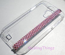 For New Samsung Galaxy S5 - Light Rose Baby Pink Crystal Rhinestone Diamond Bling on Clear Back Case handmade using Swarovski Elements