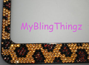 Rhinestone LEOPARD Design ~ Crystal License Plate Frame Bling Handmade using 100% Swarovski Elements