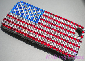USA Flag - Red White & Blue - BLING Back Case for Galaxy Note 7 handmade using 100% Swarovski Crystals Rhinestone