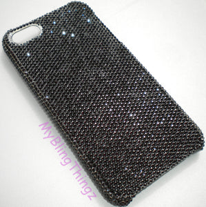 For iPhone 5 5S SE - Exquisite Tiny 7ss Jet Black Crystal Diamond Rhinestone BLING Back Case made using 100% Swarovski Elements Crystals