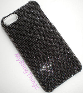 "For iPhone 6 Plus (5.5"") - Exquisite Tiny 9ss Jet Black Crystals from Swarovski Diamond Rhinestone BLING Back Case"