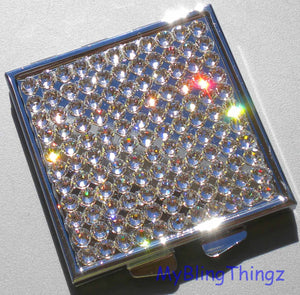 Silver Square Mirror Compact with lead Crystal Diamond Bling Rhinestones ~ made with Swarovski Elements - 60mm