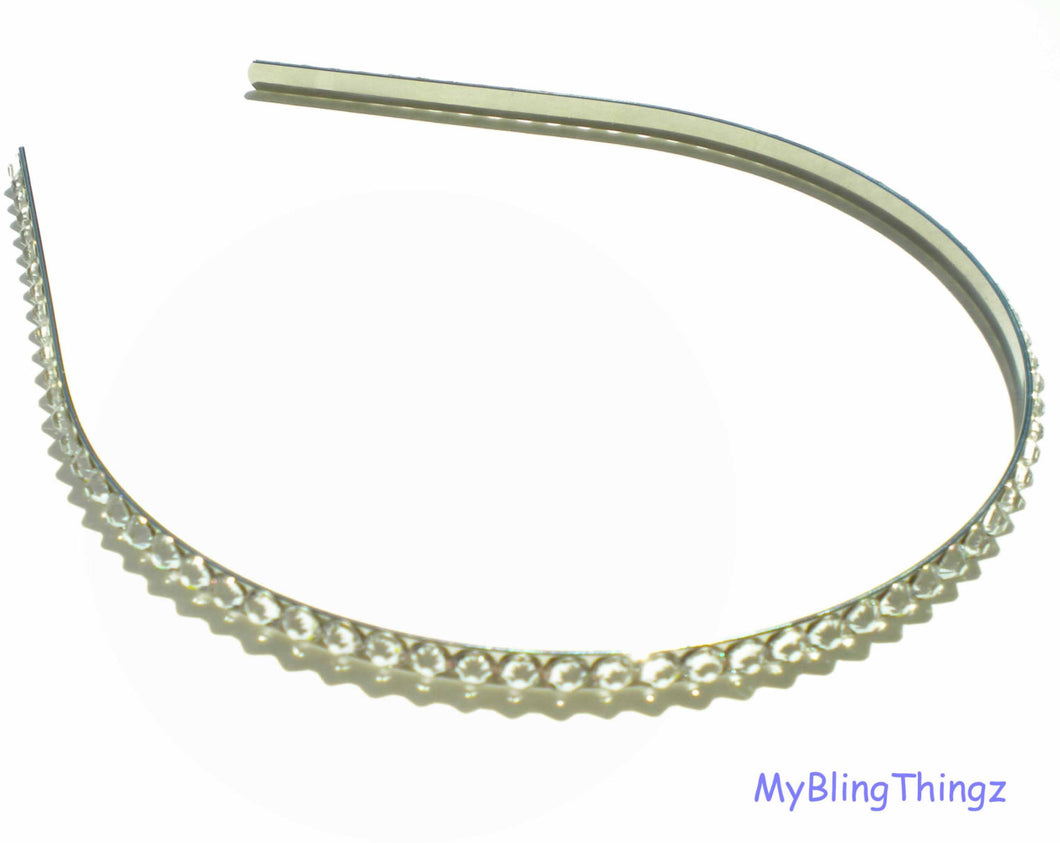 ANY COLOR Crystals from Swarovski - Silver Hairband (5mm) with Sparkly Diamond Bling Rhinestones