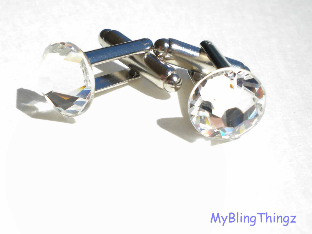 Classy Silver Cufflinks with Sparkly Crystal Diamond Bling Rhinestones ~ made with Swarovski Elements - 11mm