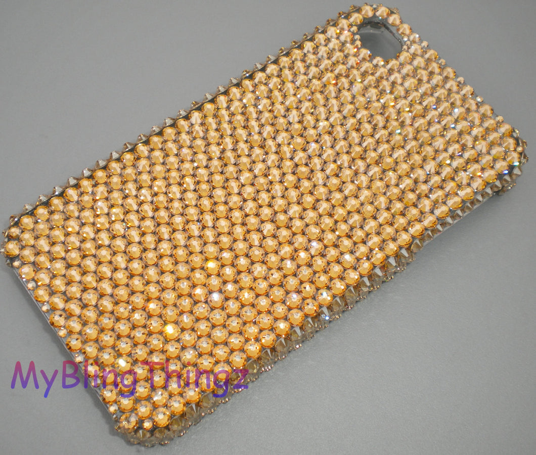 For iPhone 5 5S SE - Stunning Very Rich Crystal Golden Shadow Diamond Rhinestone BLING Back Case - made with Swarovski Elements