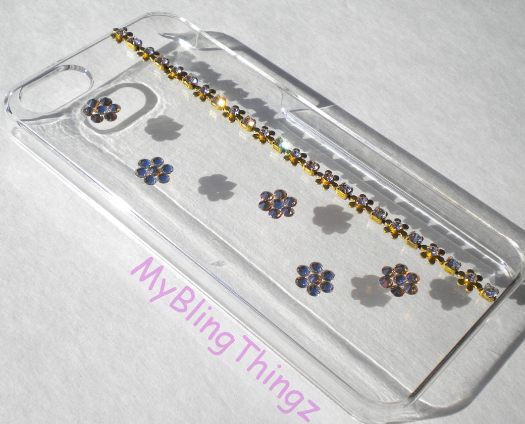 For iPhone 6 PLUS (5.5) - Simply Exquisite Gold & Crystal Diamond Bling Rhinestone FLOWERS on Clear Hard Back Case w/Crystals from Swarovski