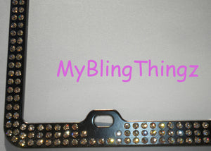 3 Rows Black Diamond Crystal BLING Inset / Embedded Rhinestone on Black License Plate Frame made with 100% Swarovski Elements
