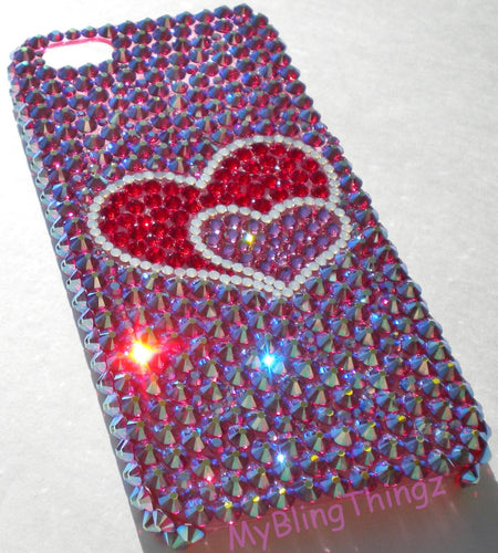 For iPhone 5C - 2 HEARTS - Crystal Diamond Rhinestone BLING Back Case handmade using 100% Swarovski Elements