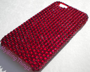 For iPhone 5 5S - Siam - Dark Red - Crystal Diamond Rhinestone BLING Back Case handmade with 100% Swarovski Elements