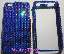 For iPhone 5 5S - Exquisite Meridian Blue - Multi Color - Crystal Diamond Rhinestone BLING 2 Piece Case handmade with Swarovski Elements