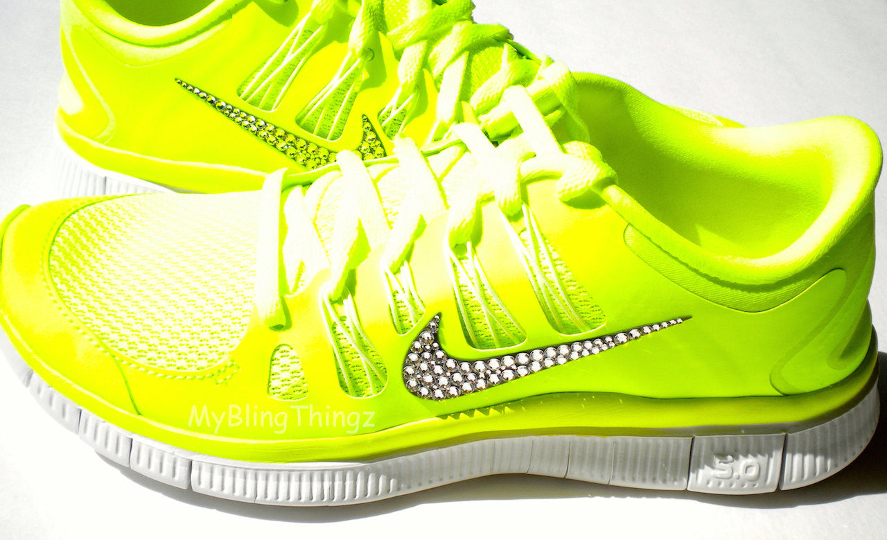 CLEARANCE! - Bling Nike Free Run 5.0+ Shoes - Neon Yellow - Volt ... 8f85d05a1469