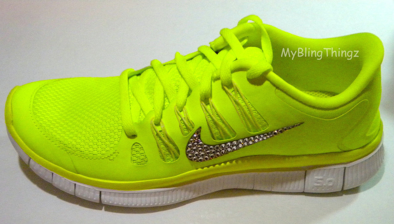 CLEARANCE! - Bling Nike Free Run 5.0+ Shoes - Neon Yellow - Volt ... 16374008c