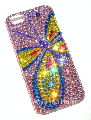 For Samsung Galaxy S6 EGDE - BUTTERFLY Bright Colors Baby Pink Crystal Rhinestone BLING Back Case handmade with 100% Crystals from Swarovski