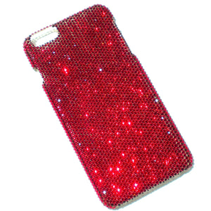 "For iPhone 6 (4.7"") ~ Tiny 9ss Deep Blood Dark Red Siam Crystals from Swarovski Diamond Rhinestone BLING Back Case"