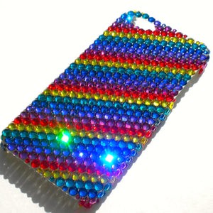 For iPhone X 10 ~ RAINBOW LOVE Diamond Rhinestone BLING Back Case bedazzled with 100% Crystals from Swarovski