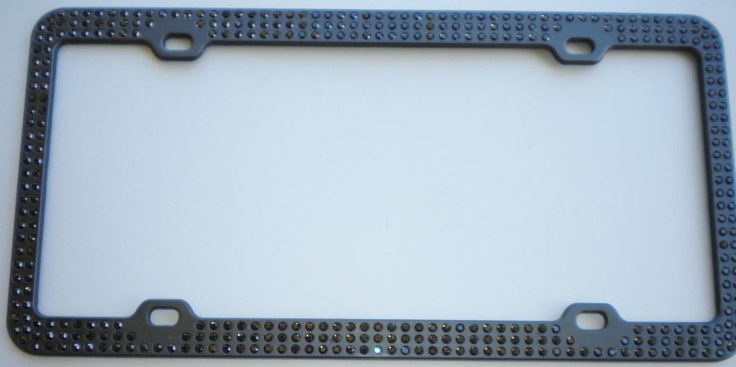 3 Rows Jet Black Crystal BLING Inset / Embedded 3 Row Rhinestone on Black License Plate Frame handmade using 100% Swarovski Elements