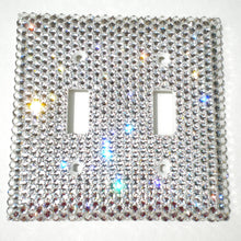 Luxury Double Light Switch Cover Plate hand bedazzled with real Crystal Diamond Bling Rhinestone Clear Crystals from Swarovski