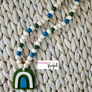 Artichoke Rainbow Wooden Bead Necklace