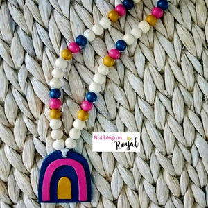 Magenta Rainbow Wooden Bead Necklace