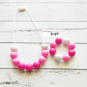 Pink Ombre Half Bead Necklace and Bracelet Set