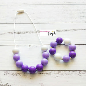 Purple Ombre Half Bead Necklace and Bracelet Set