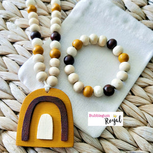 Yellow Ochre Rainbow Wooden Bead Necklace