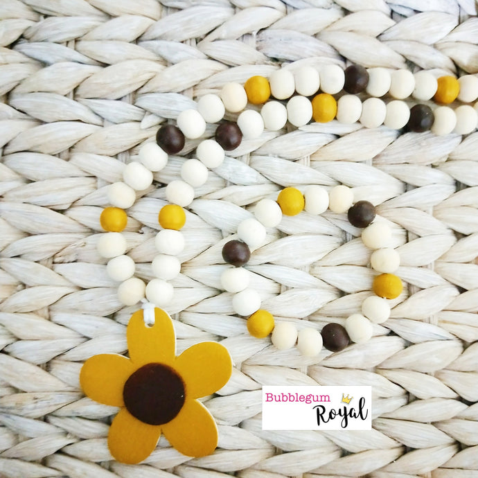 Yellow Ochre Daisy Wooden Bead Necklace
