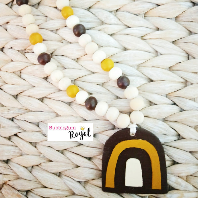 Burnt Umber Rainbow Wooden Bead Necklace