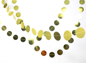 Gold circle dots garland - metallic gold confetti banner