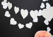 White paper hearts garland